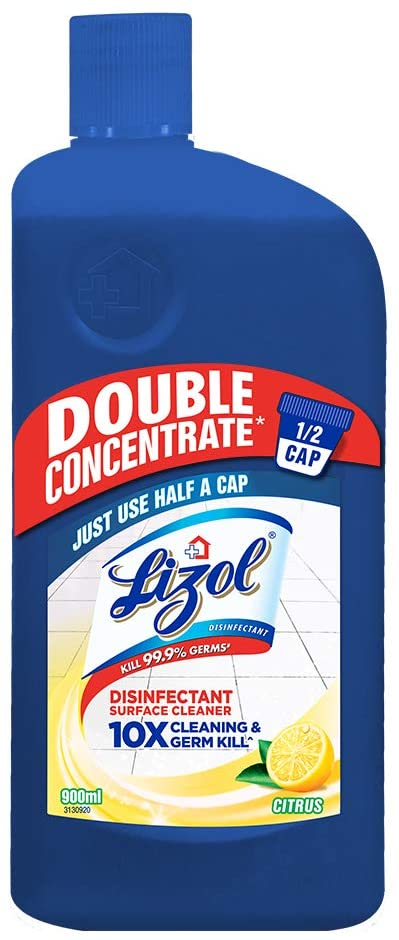Lizol Double Concentrate Disinfectant Floor Cleaner Citrus, 900ml   Kills 99.9% Germs
