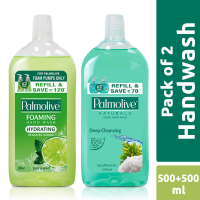 Palmolive Hydrating Foaming Hand Wash, Lime & Mint - 500 Ml (refill Pack) With Palmolive Naturals Hand Wash Sea Mineral - 500 Ml (refill Pack)