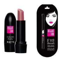 Elle 18 Colors Pop Matte Lip Color, Mauve Dat, 4.3 G And Eye Drama Kajal, Bold Black, 0.35 G Combo