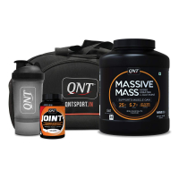 Qnt Massive Mass Muscle Gainer Irish Chocolate 4 Kg, Joint + 60 Caps, Shaker And Bag Combo