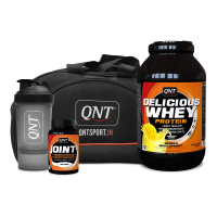 Qnt Delicious Whey Protein Yoghurt Mango 2.2kg, Joint + 60 Caps, Shaker And Bag Combo
