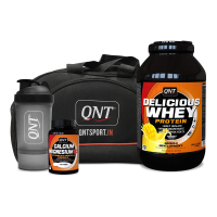 Qnt Delicious Whey Protein Yoghurt Mango 2.2kg, Calcium Magnesium D3 60 Tabs, Shaker And Bag Combo