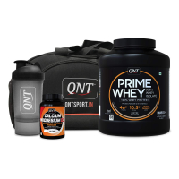 Qnt Prime Whey Protein Coffee 2kg, Calcium Magnesium D3 60 Tabs, Shaker And Bag Combo