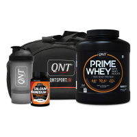 Qnt Prime Whey Protein Irish Chocolate 2kg, Calcium Magnesium D3 60 Tabs, Shaker And Bag Combo