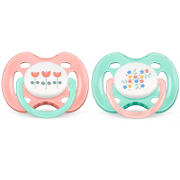 Philips Avent Orthodontic Free Flow Soother Pack Of 2 - Pink & Green 0-6m