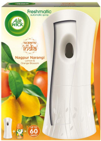 Airwick Freshmatic 'scents Of India' Air-freshner Complete Kit [machine + Nagpur Narangi Refill - 250 Ml]